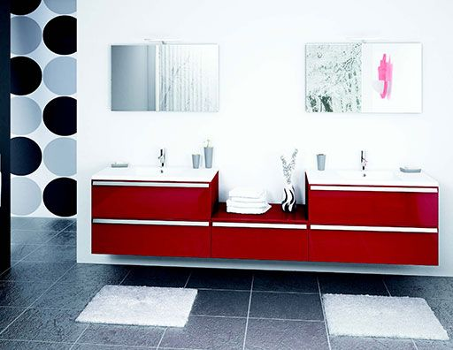 Salle de bains lotus rouge discac orialys salle de Salle de bain rouge et blanc
