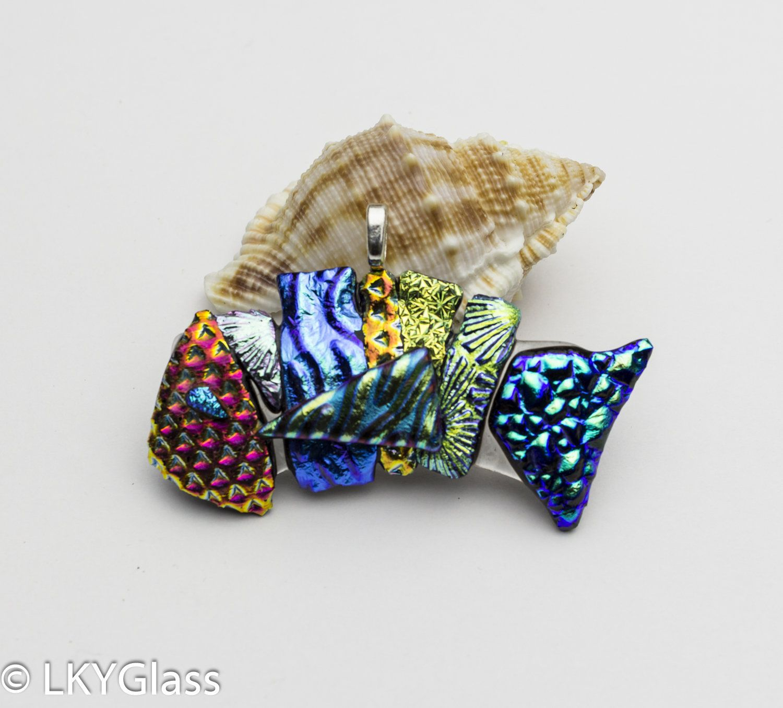Chain Salt Water Fused Glass Fish Sun Catcher Rainbow Dichroic Fish Rainbow Dichroic Glass Pendant DF19. Tropical Glass Fish Ornament