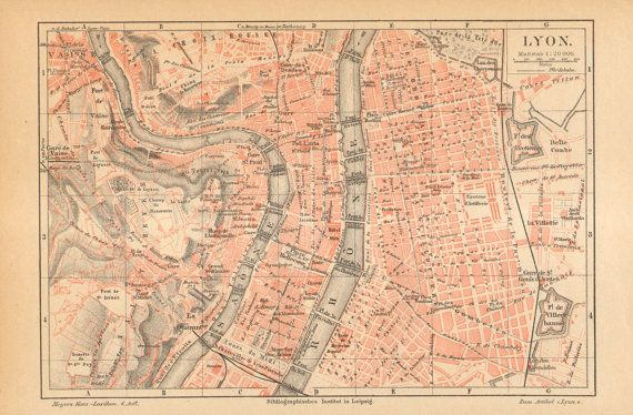 1890 Original Antique City Map of Lyon or by CabinetOfTreasures, $16.95
