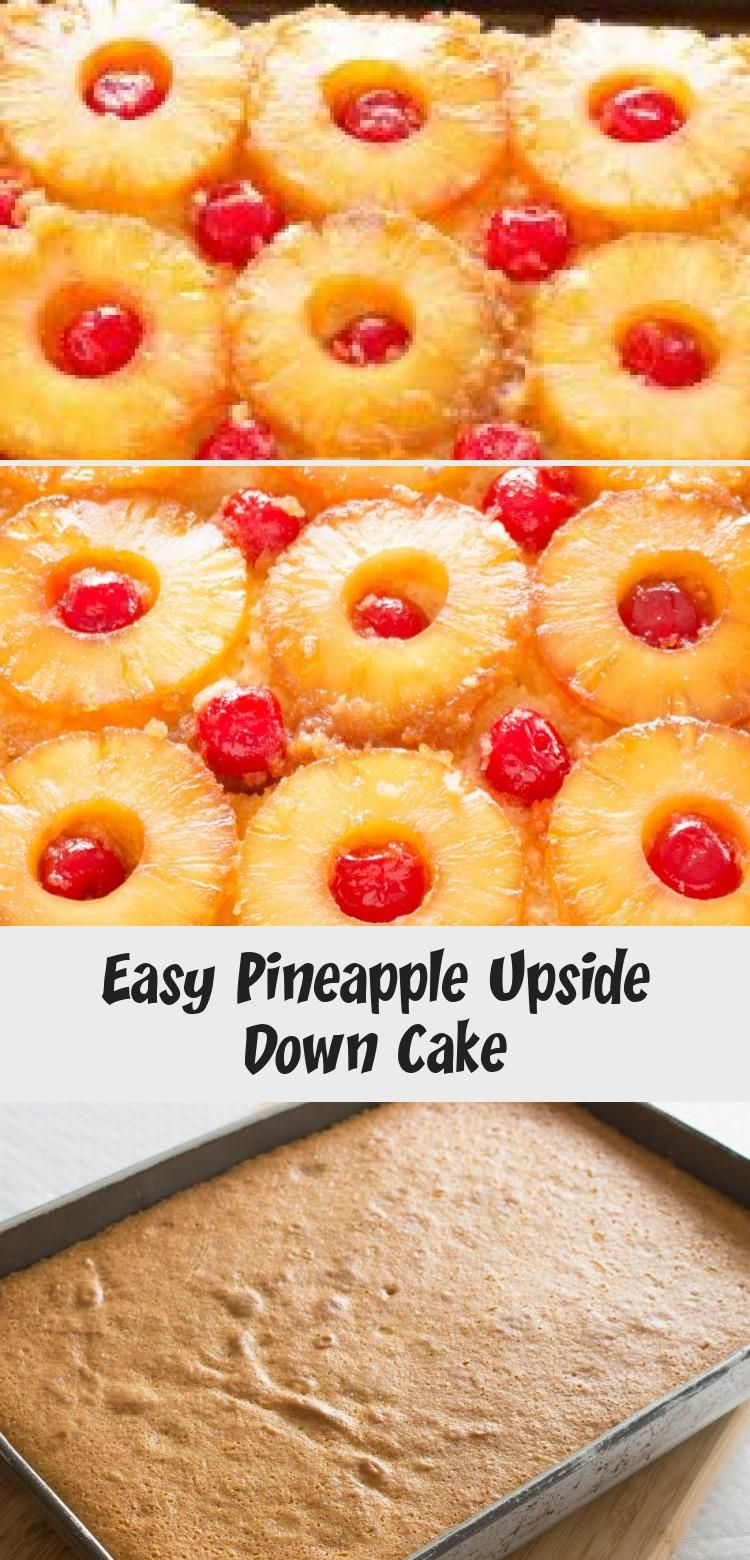 Easy Pineapple Upside Down Cake Easy recipe for Pineapple Upside Down Cake with a pineapple flavored cake batter features caramelized pineapples and cherries. It looks harder than it is! When making the best pineapple upside down cake is this easy, we almost feel bad calling this a recipe! via @peartreechefs
