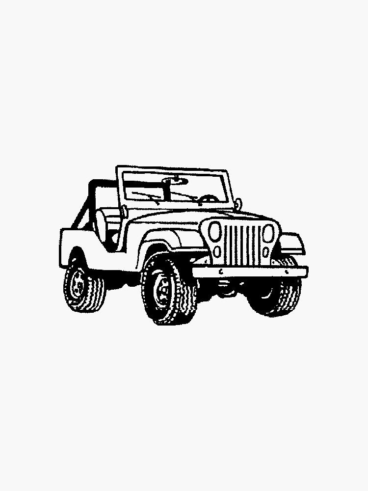 Black And White Jeep Sticker By Maddie Faith Redbubble White Jeep Black And White Aesthetic Clipart Black And White