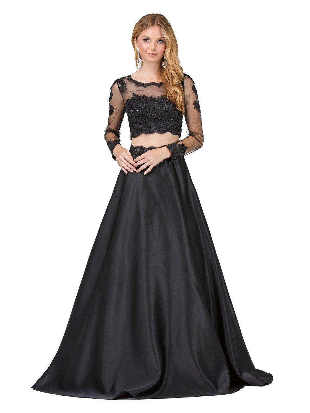 piece long sleeve prom dress dq fashion pinterest prom