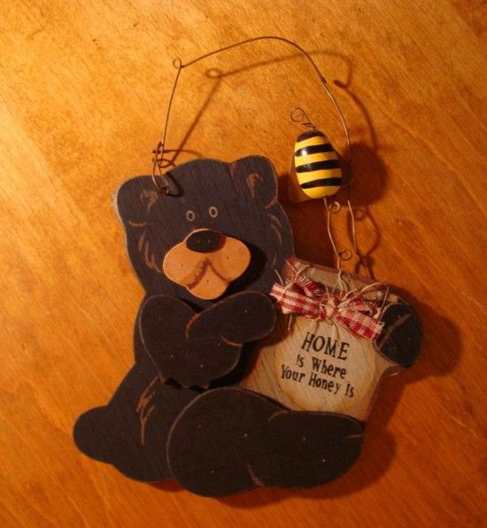 HOME IS WHERE YOUR HONEY IS Lodge Wood Black Bear Holding Pot & Bumble Bee Sign