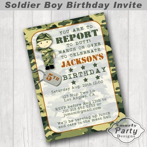 Soldier Boy Birthday Party Invite Invitation by SmartyPartyDesigns