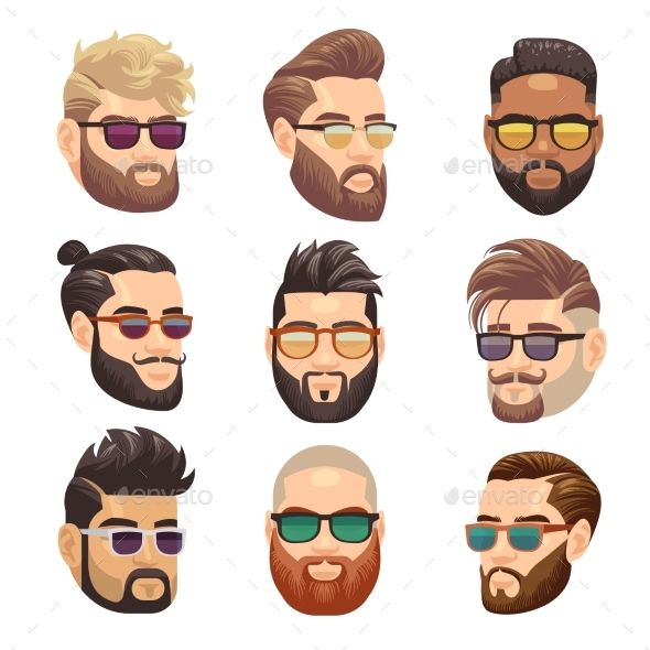 cartoon bearded hipster man