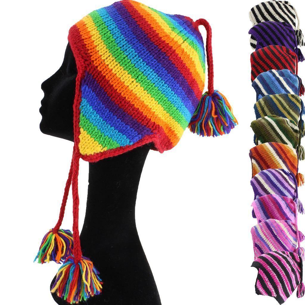 Wool Earflap Hat Fleece Lined Nepal Knit Hippie Beanie ...
