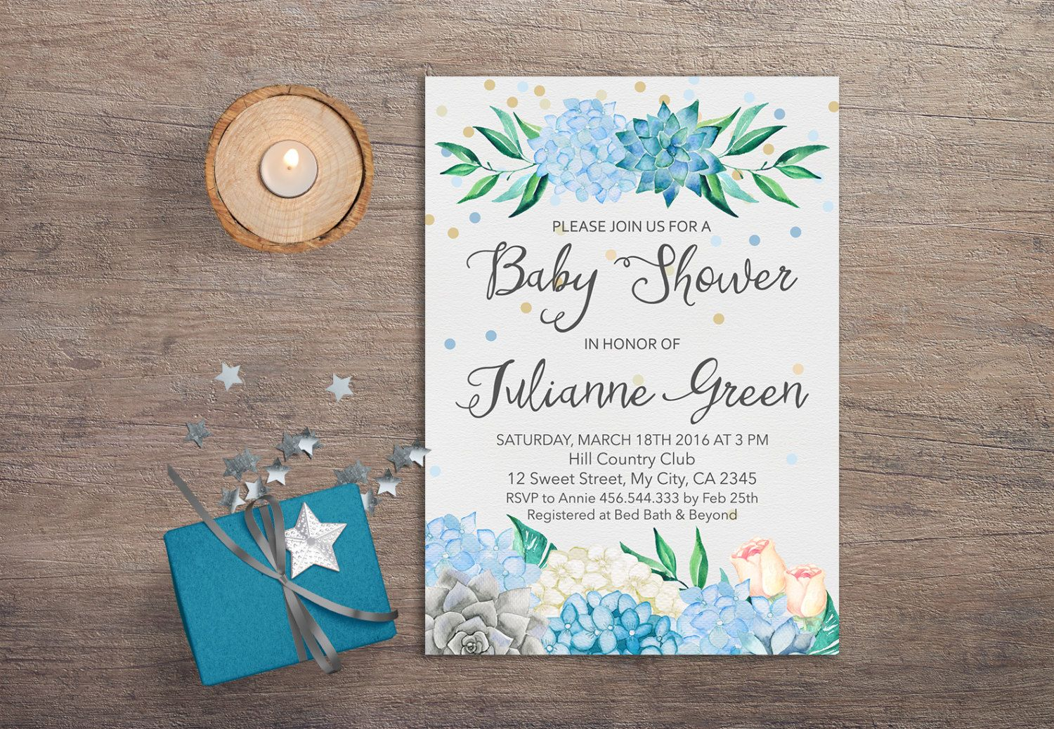 Succulent Baby Shower Invitation Boy Baby Shower Invitation ...