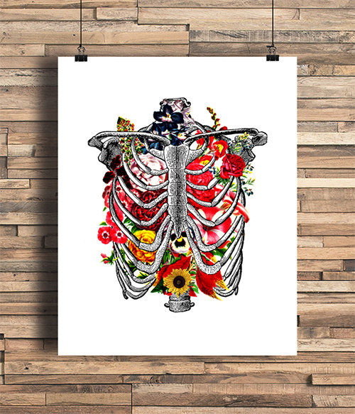 Rib Cage With Flowers Illustration 80929cbd519