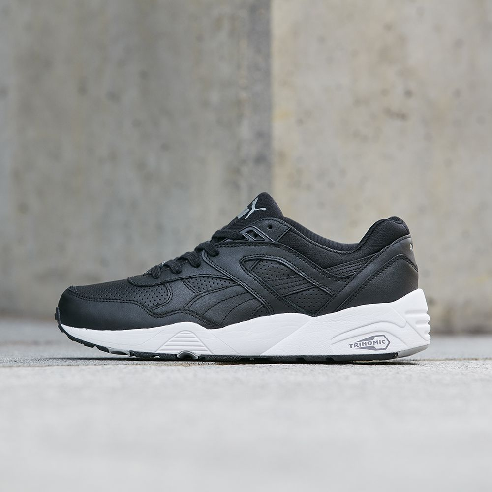The Puma R698 Core Leather Trainer available in black