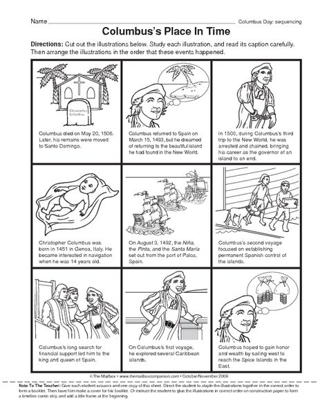 Columbus Day Worksheet Sequencing Events The Mailbox Kindergarten Worksheets Sequence Of Events Worksheets Kindergarten Addition Worksheets