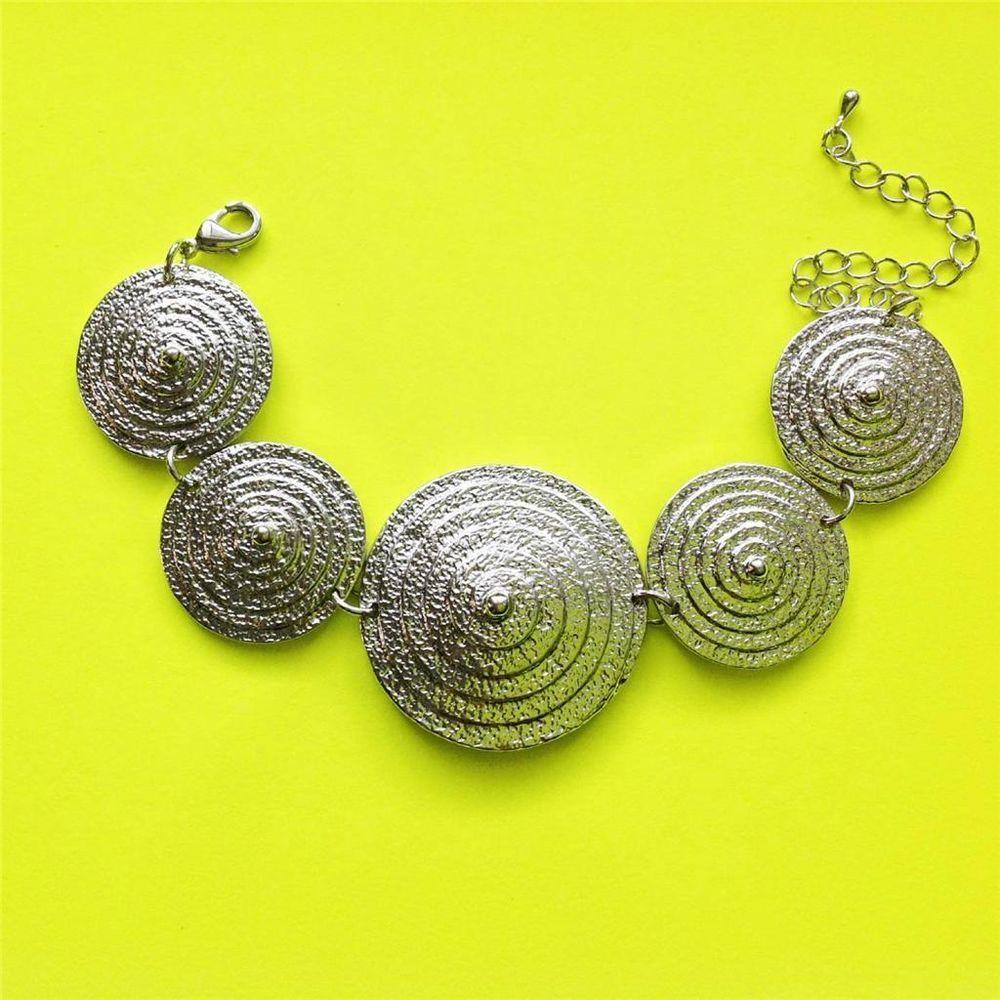 Unique design silver cone gradual spiral art link chain bracelet