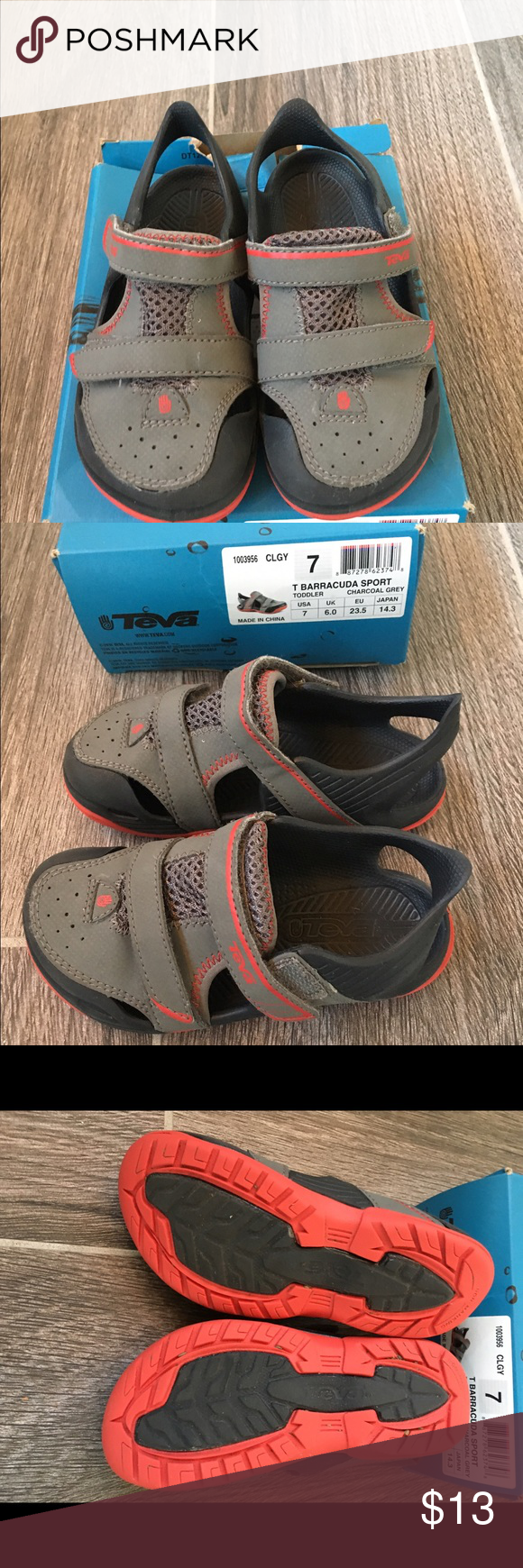 Teva Baracudda Sport grey water sandals. Sz 7 Teva Barracuda Sport water sandals in charcoal grey. Size 7 baby. Gently worn, good condition. Can be worn in water. Comes with box as shown, box has a rip at opening. Teva Shoes Water Shoes