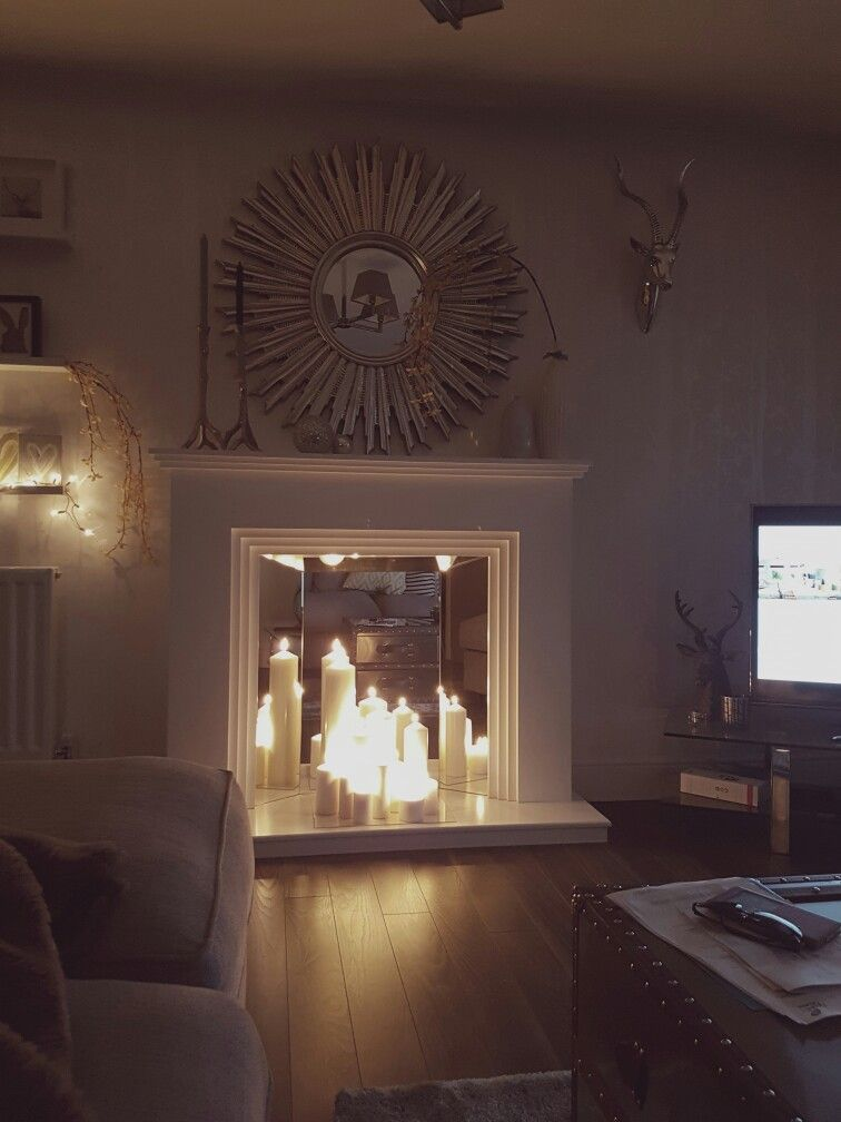 Evening Apartment Custom Built Gorgeous Faux Fireplace With Candles