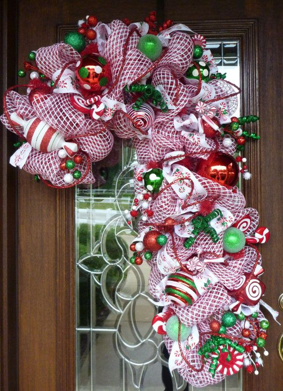 Deco Mesh Candy Cane Christmas Wreath Navidad Adorno