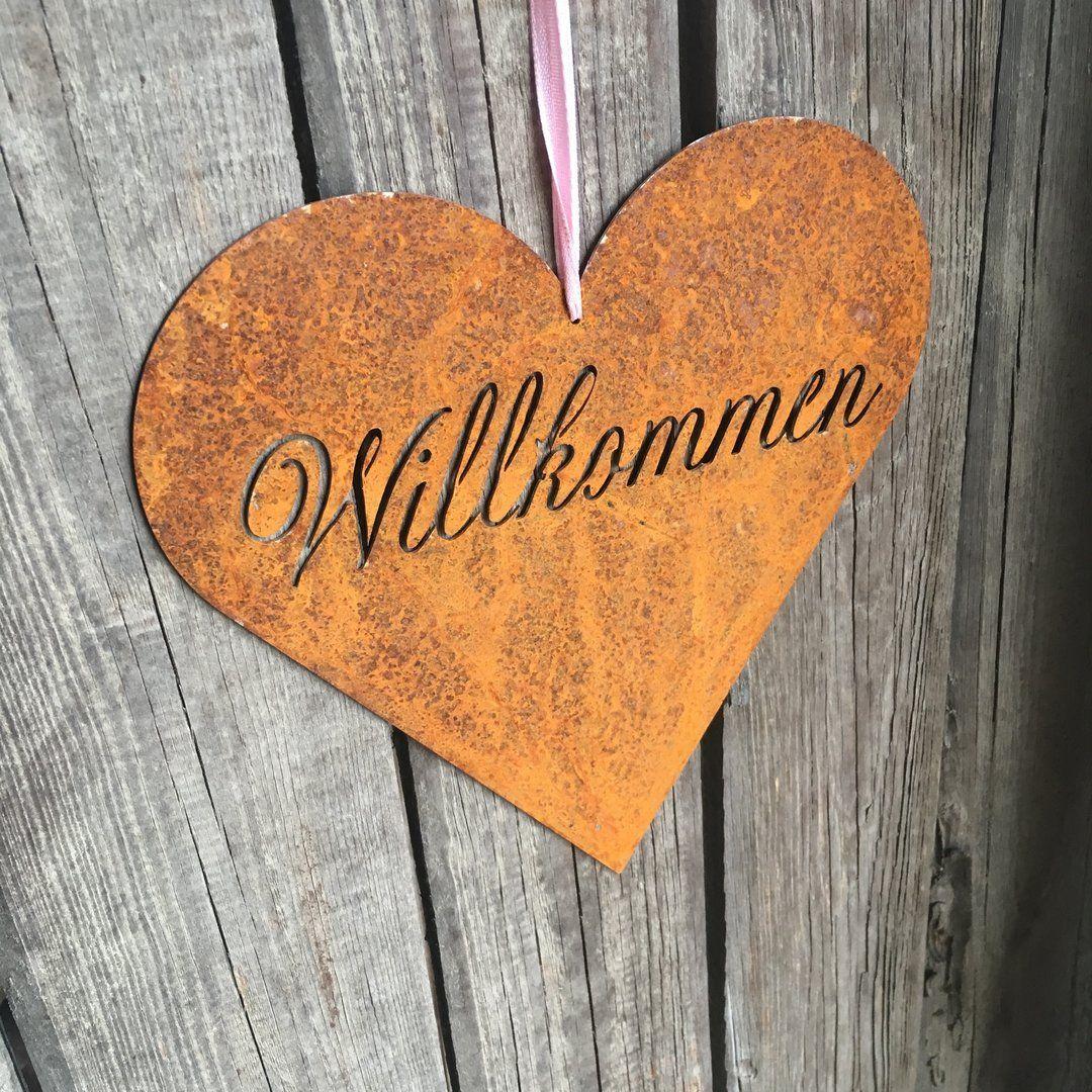 """Edelrost Gartenstab Herz /""""Herzlich Willkommen/"""""""