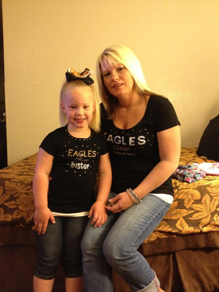 Wearing our El Cap Cheer Mom/Sister Shirts I made to support my daughters cheer team at Nationals!