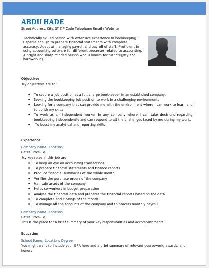Bookkeeper Resume Glamorous Accounting Bookkeeper Resume Template Download At Http