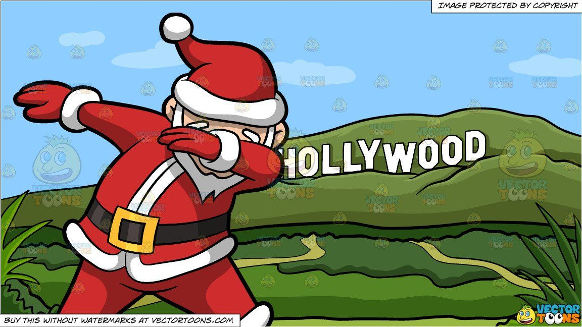 A Dabbing Santa Claus And Hollywood Sign During The Day Background