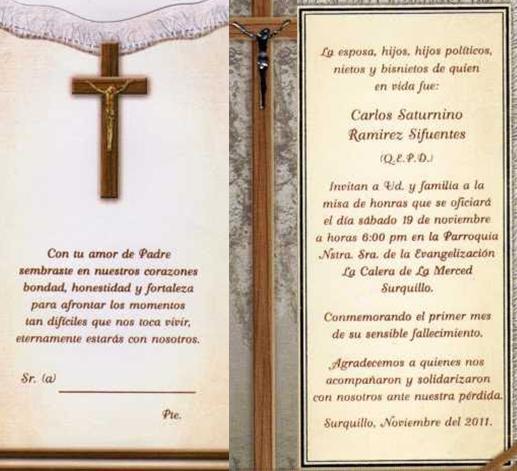 Tarjetas De Invitación De Misa Para Difuntos Imagui