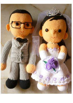 Crochet Wedding Doll Couple Pattern Lovely Beautiful Idea Gift Set Car Decoration Human