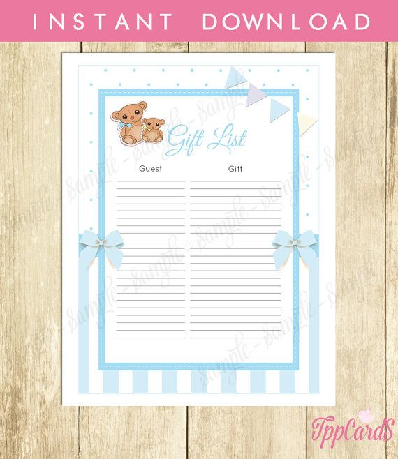 Teddy Bear Baby Shower Gift List, Bear Baby Shower List, Baby Shower Sign  In Sheet, Baby Shower Registry In Light Blue And White, 0032A B