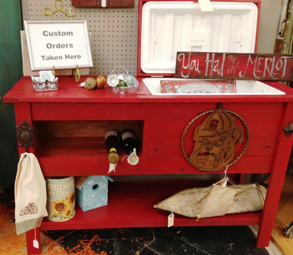 Outdoor Rustic Wooden Cooler Bar Serving Or Console Table Etsy Wooden Cooler Wood Cooler Cool Tables