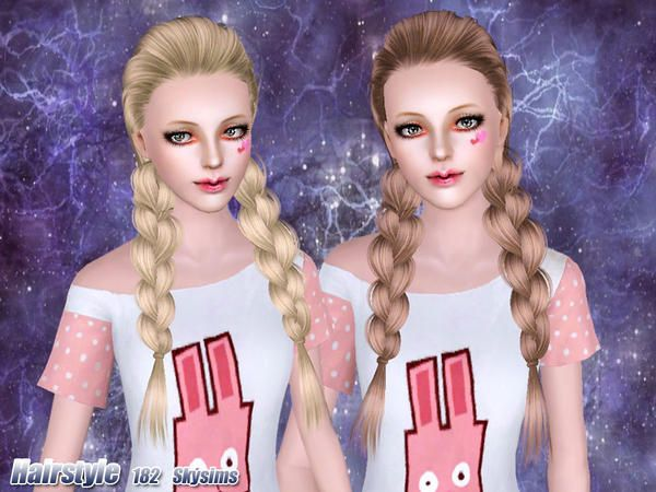 Pleasing Loose Braided Pigtails Hair 182 By Skysims Sims 3 Downloads Cc Short Hairstyles Gunalazisus