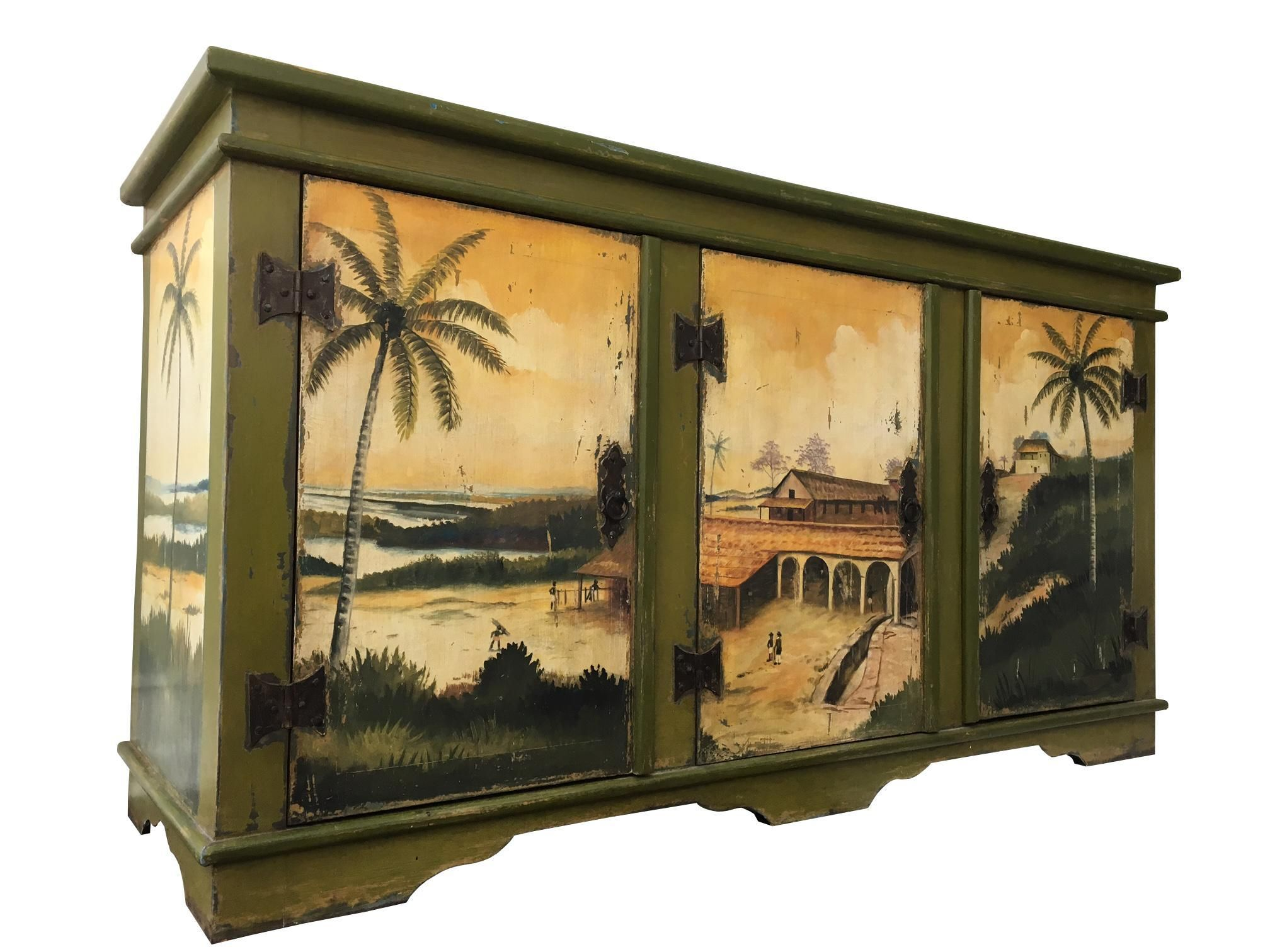 Artiero Brazil Tropical Palm Tree Hand Painted Credenza Cabinet Chairish