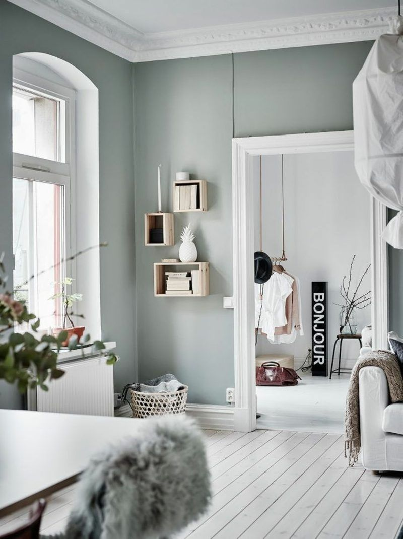 Color Sage In The Interior For A Pleasant Natural Ambience Zuhause Wohn Design Minimalistischer Raum