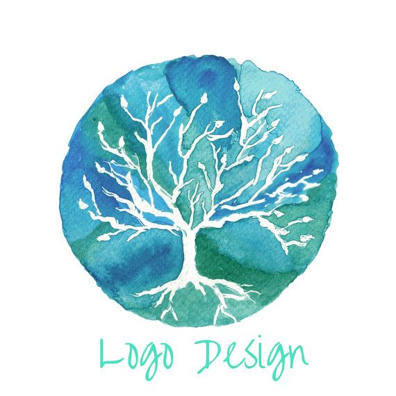 Watercolor Tree Logo Design Watercolour Tree By Theuniquegiftsshop