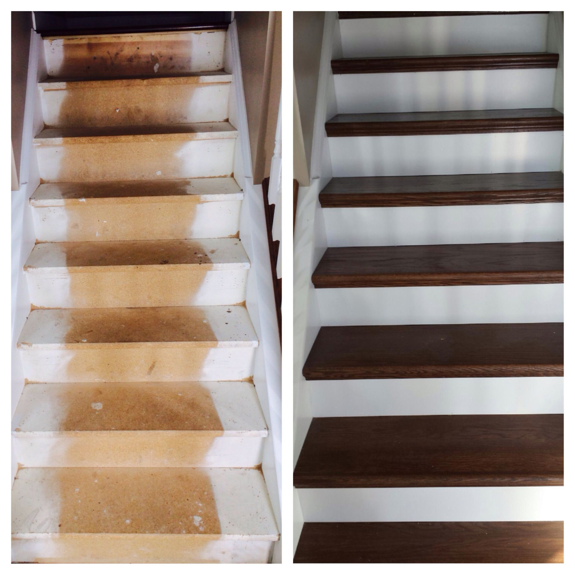 Before and after nustair diy staircase remodel stair for Diy wood stairs