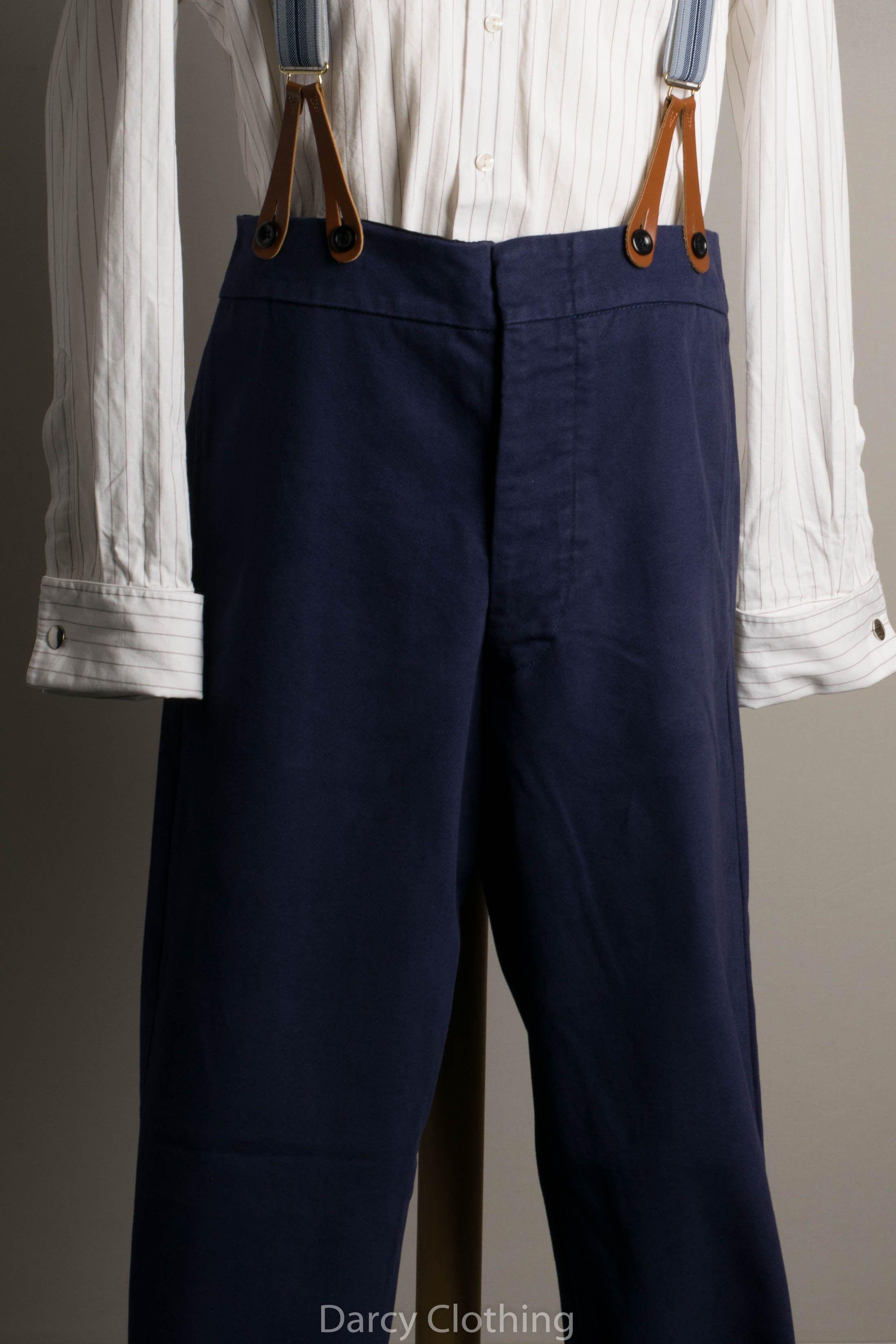 Navy Blue Leather End Braces
