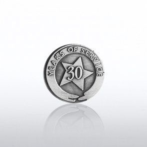 Silver Anniversary Lapel Pin - 30 by Baudville. $5.95. Recognizing years of service is more important now than ever before! Recognize their thirty year anniversary with a beautifully-crafted and individually-packaged, heavyweight silver anniversary lapel pin! Designed for years of wear.