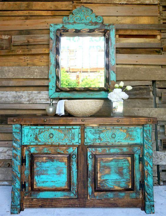 Sch biges t rkisblauer badezimmer eitelkeit mit einem k hnen abgenutzten blick einrichten - Antike badezimmer ...