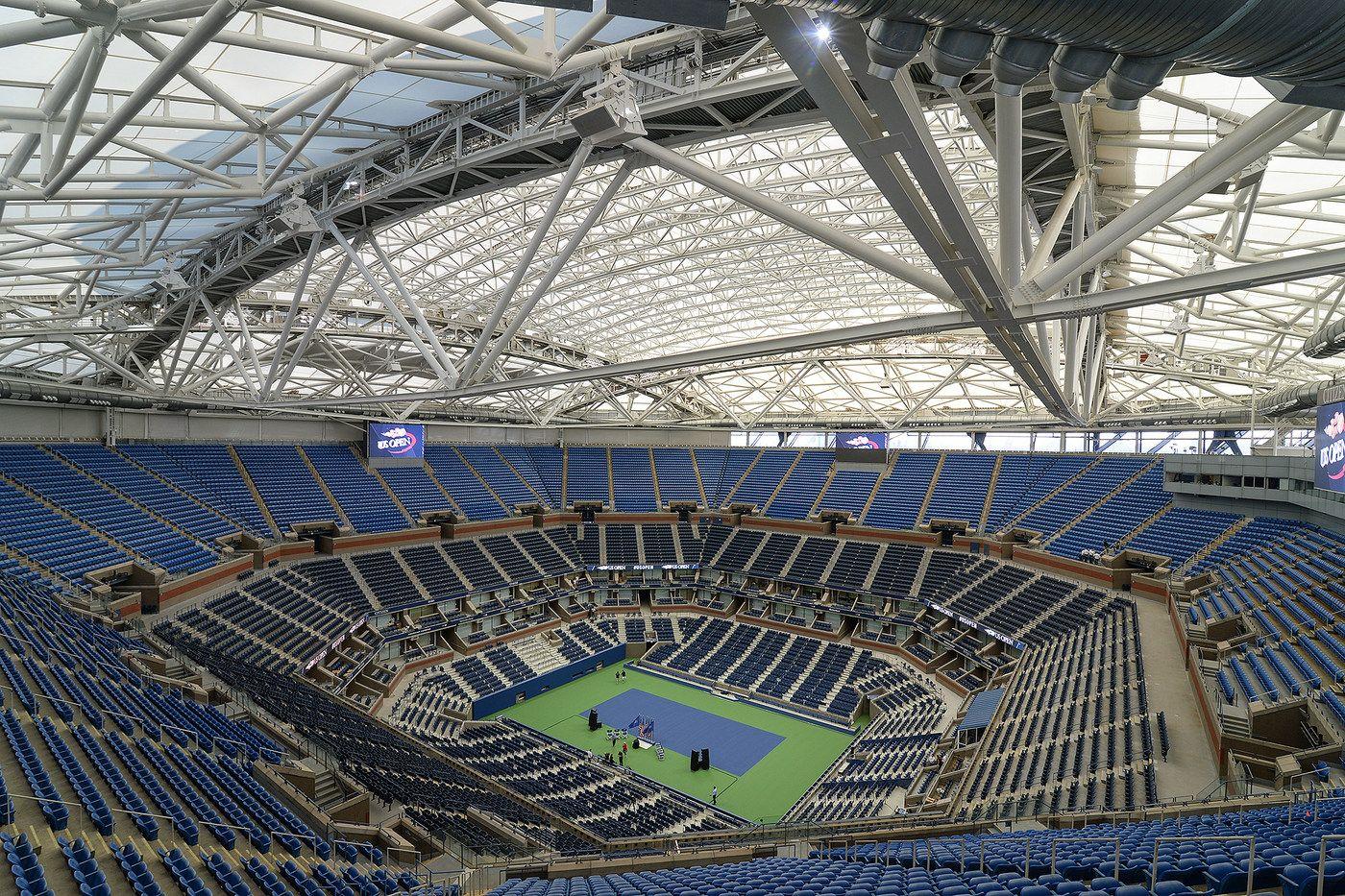 Photos Unveiling Spectacular Arthur Ashe Stadium Roof Arthur Ashe Tennis Championships Travel