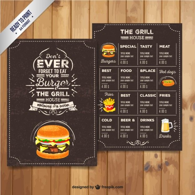 Men del restaurante grill en estilo retro vector gratis for Menu tipico frances