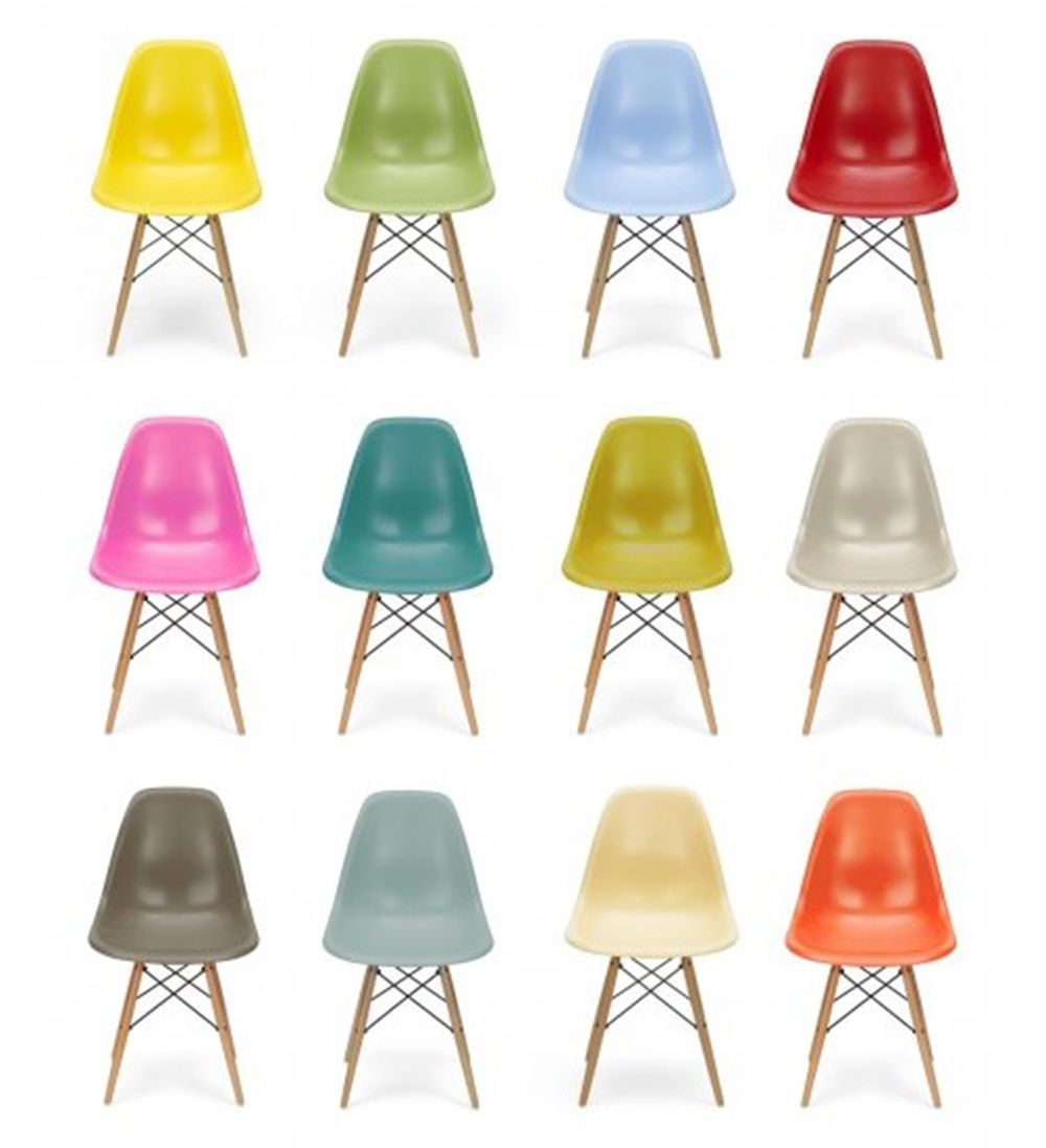 Set Of 4 Charles Eames Inspired Retro DSW Eiffel Dining Chairs In 8 Colours