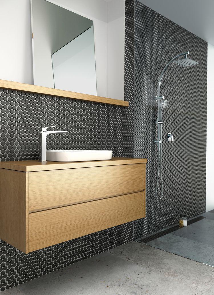 Penny Round Tiles Feature Tiles Black Tiles Bathroom Pinterest