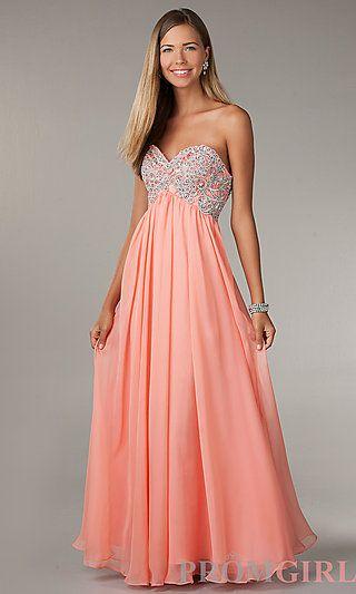 1befbd72e94 Long Empire Waist Strapless Sweetheart Dress at PromGirl.com