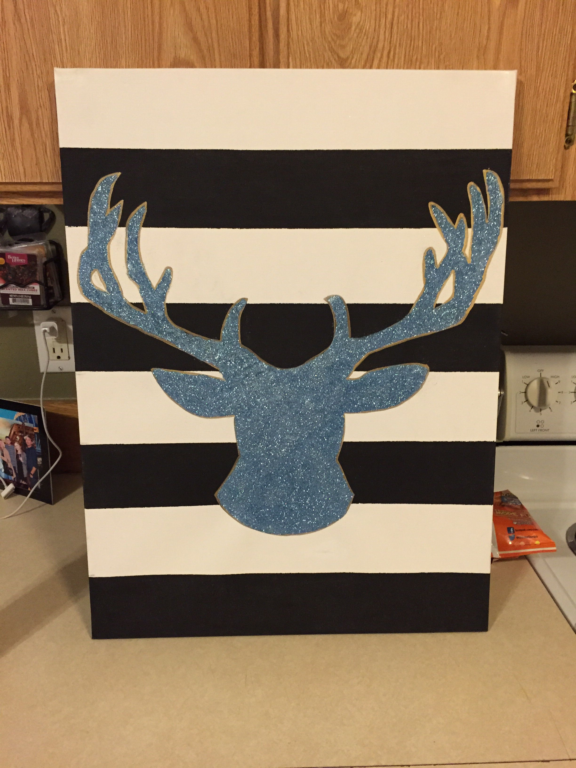 Blue sparkle deer canvas.