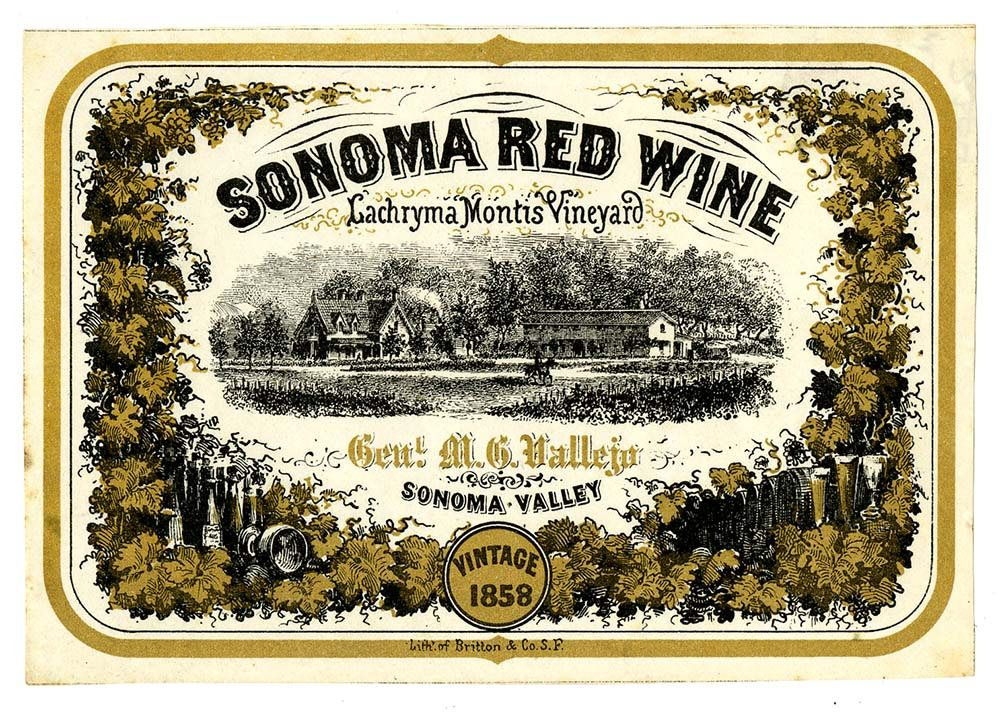 Wine Label, Lachryma Montis Vineyard, Sonoma Red Wine, 1858 | Red