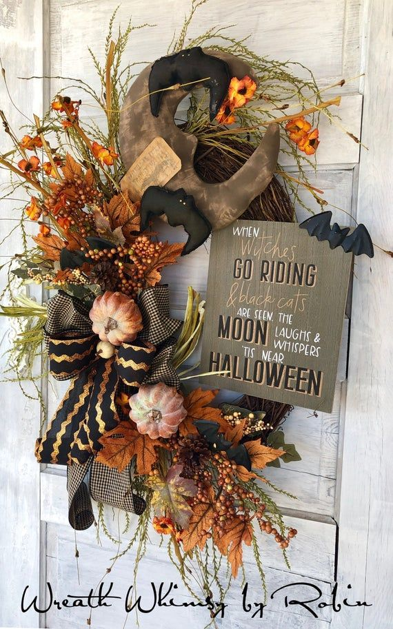 Primitive Moon Grapevine Wreath, Halloween Wreath, Fall