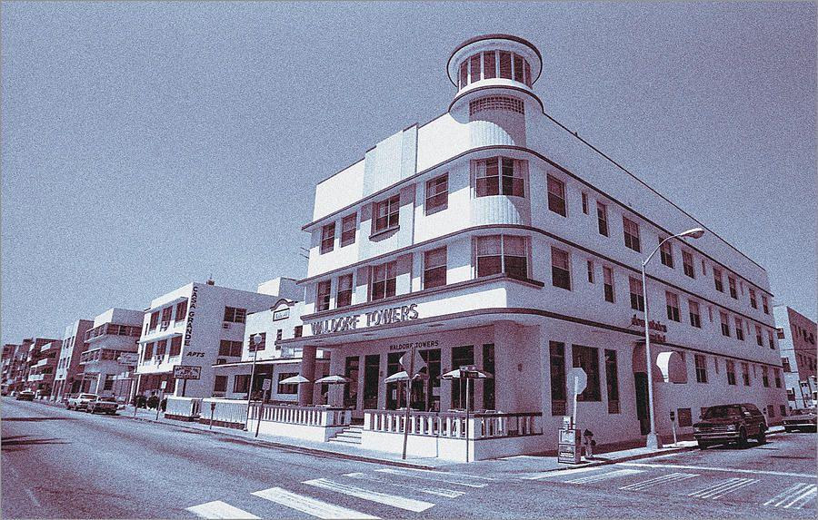 Photograph South Beach Miami Waldorf Hotel Tropical Art Deco Blue By Steven Hlavac