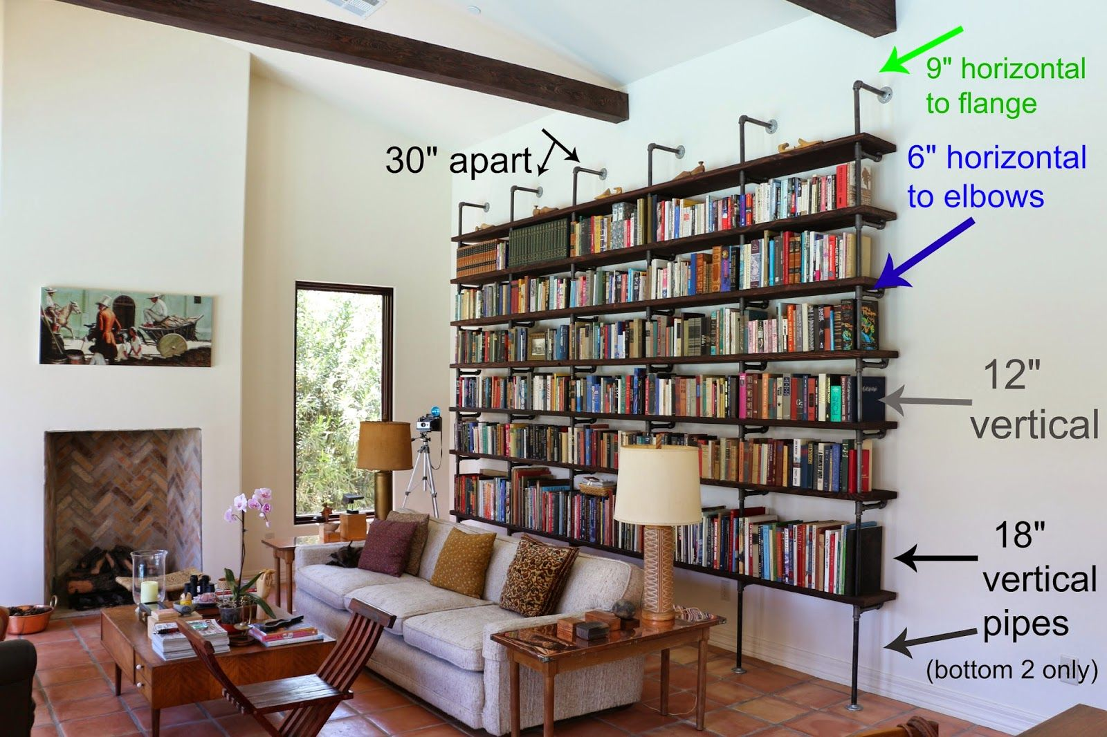 how dimensions for to pin pipe bookshelf diy a build