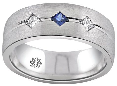 carat star set sapphire diamond mens wedding band this commanding mens gemstone and diamond ring features a modern design coupled with an elegant - Mens Sapphire Wedding Rings