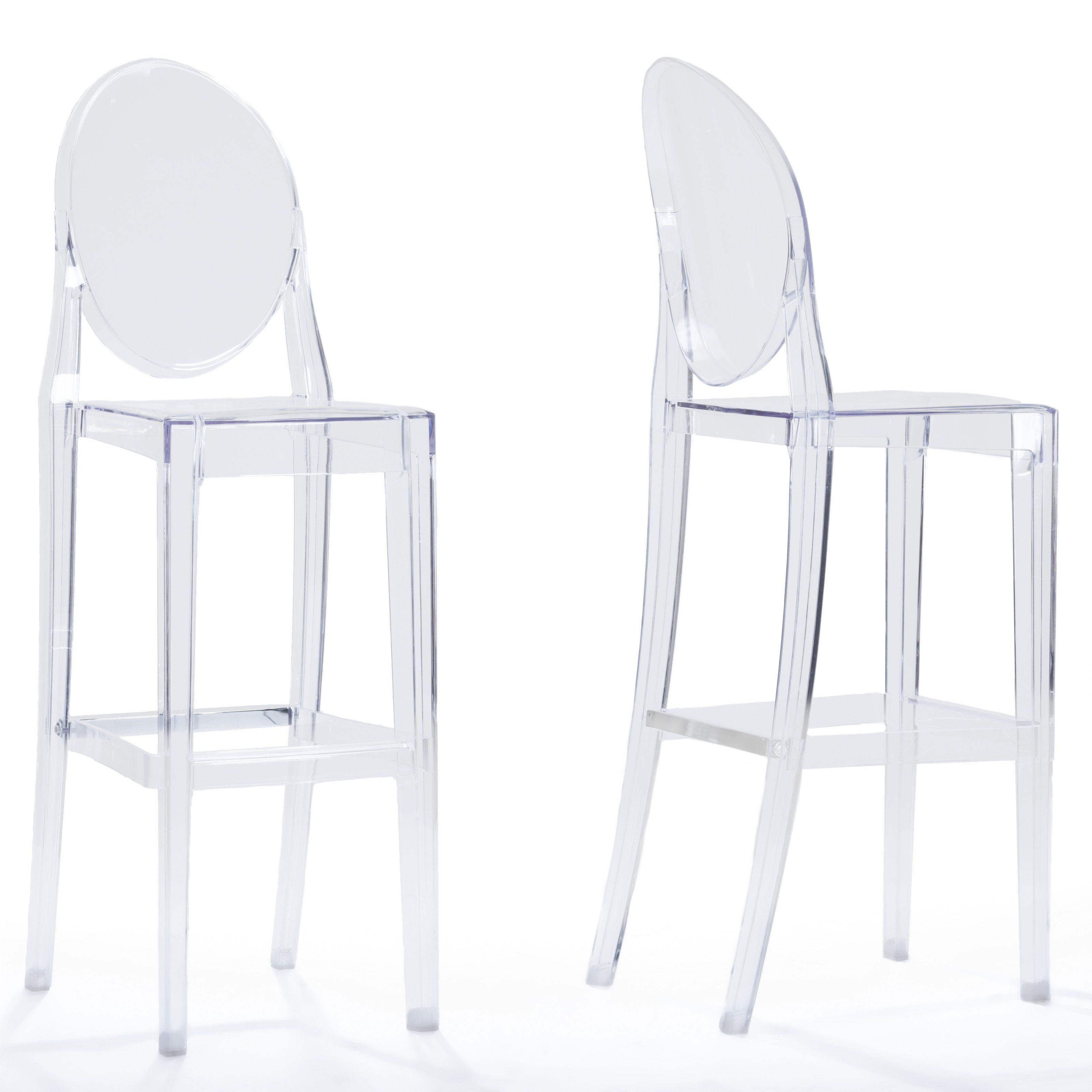 Baxton Studio Infinity Bar Stool Set Of 2 Bs 448a Clear