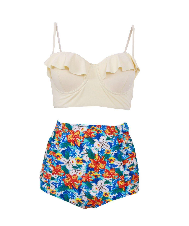 32e12f8bc9007 Haicoo Vintage High Waist Floral Women s Bikini Set Strappy Push Up Bathing  Suit at Amazon Women s Clothing store