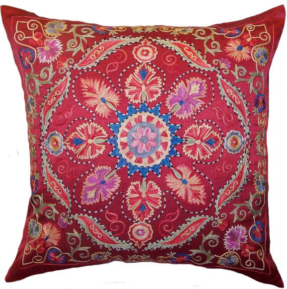 Handmade Suzani Pillow Cover MSP777 by BlackFigDesigns on Etsy