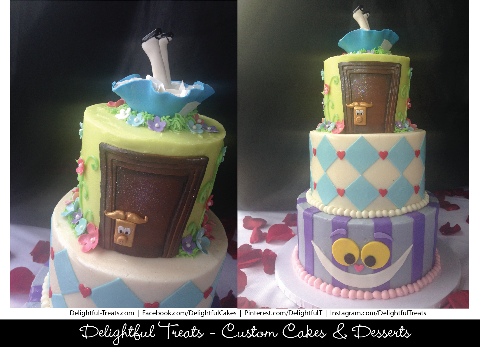 Alice in Wonderland Baby Shower Cake by Delightful Treats Cakery