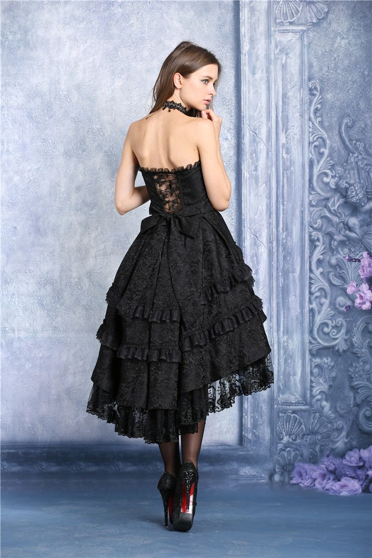 f312843e6f8 Robe bustier noire mi longue